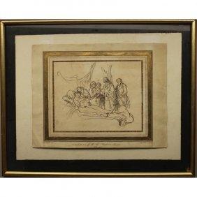 Antique After Rembrandt Etching - Ink/paper