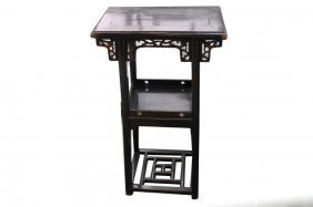 Antique Chinese Black Lacquer Stand