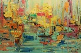Signed Modern Abstract Harbor Scene