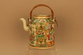 Antique Chinese Rose Medallion Covered Teapot