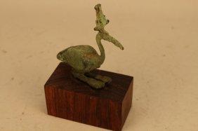 Antique Egyptian Bronze Bird On Base