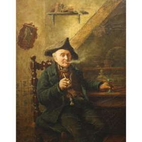19th C. Oil/canvas Of Old Man W/ Pipe