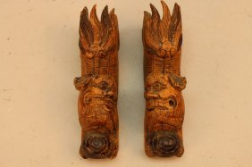 (2) Antique Chinese Carved Foo Dogs