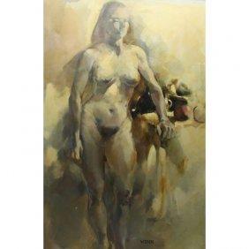 Signed 20th C. Female Nude