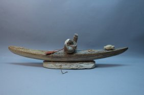 Large Inuit Eskimo Whale Bone Kayak W/ Hunter