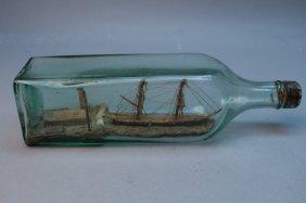 Antique Ship Diorama In Glass Bottle