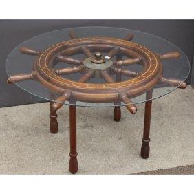 8 Spoke Yacht Wheel Glass Top Side Table
