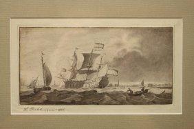 Ludolf Backhuysen I (1631 - 1708) Mezzotint