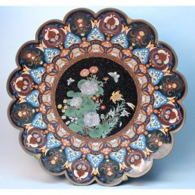Antique Chinese Cloisonne Butterfly Charger