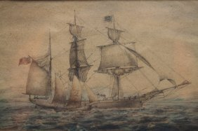 "Antique Watercolor Of ""anna Maria"""