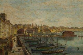 19th C. Harbor Scene Colored Engraving