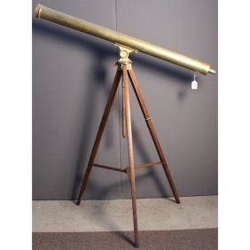 Large Antique Brass Telescope On Stand