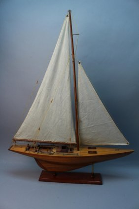 Vintage Sailboat Model On Stand