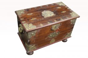 Footed 20th C. Bronze Mounted Blanket Chest