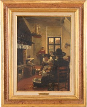 Hans herrmann 1858 1942 oil painting dutchwoman lot 37 for Fenster herrmann