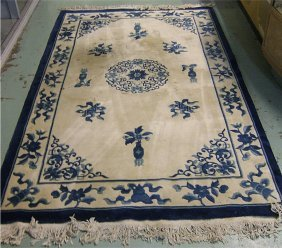 201 Chinese Blue And White Oriental Rug 8 X 5 Lot 201
