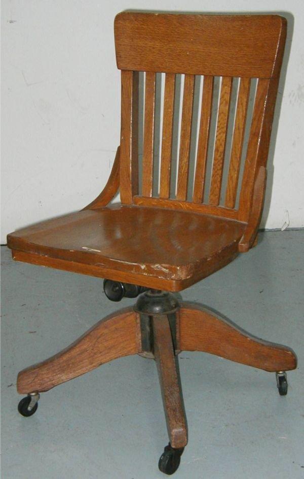 3211 Solid Oak Armless Swivel Desk Chair Lot 3211