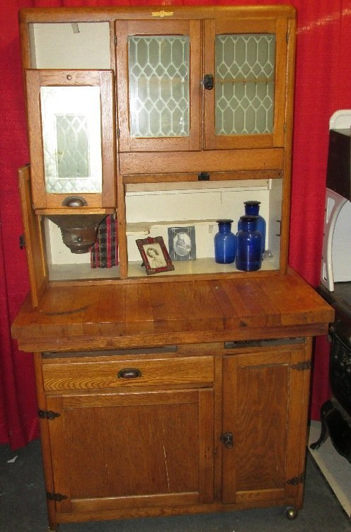 Napanee Oak Kitchen Hoosier Cabinet with Sifter and : Lot 2080