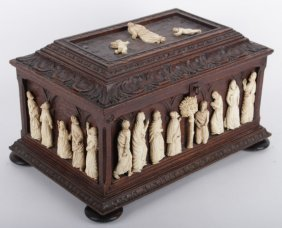 Rare Jewellry Box With Carved Ivory