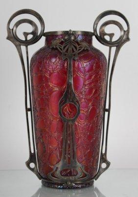 Large Loetz Vase With A Metal Mount