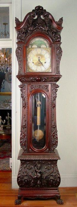 R J Horner Grandfather Clock Mahogany Heavily Lot 157