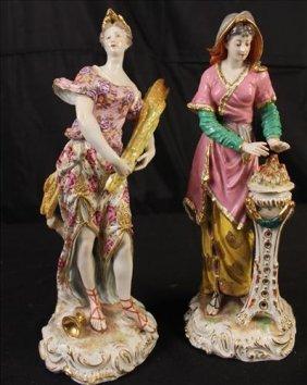 Pair soft pastel Old Paris figurines with slight damage