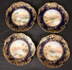 Four Aynsley England hand painted plates 9in D