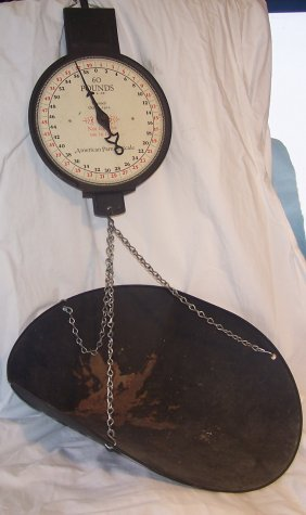 Vintage Antique American Family 60ld Hanging Scale Lot 119