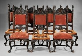 Eight American Carved Oak Dining Chairs