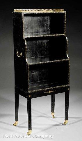 Regency Black Lacquered Etagere