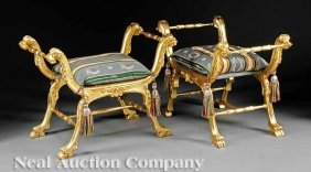 Pair Of Italian Neoclassical-Style Curule Benches