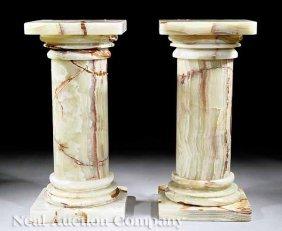 Pair Of Variegated White Onyx Pedestals