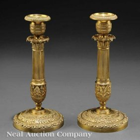Pair Of Charles X Gilt Bronze Candlesticks