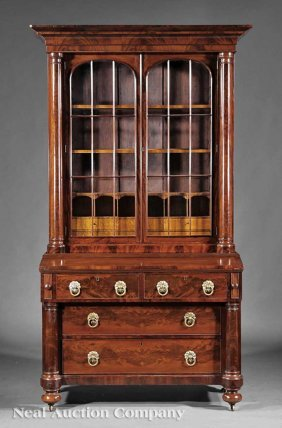 Carved Mahogany Secretary Bookcase, Rufus Pierce