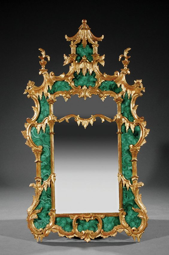 A Chinese Chippendale Style Malachite Mirror Lot 81