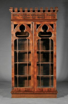 Gothic Walnut Bookcase Attr Crawford Riddell Lot 524