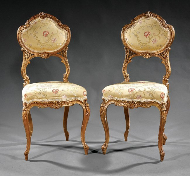 Louis xv style carved giltwood salon chairs lot 1084 for Salon louis xv
