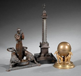 "Three ""grand Tour"" Bronze Desk Articles"