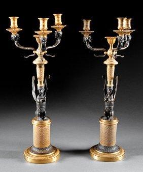 Empire Gilt And Patinated Bronze Candelabra