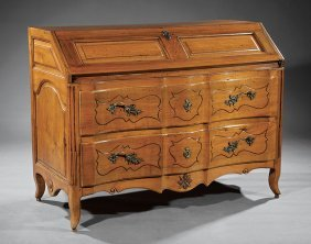 French Provincial Louis Xv-style Fruitwood Bureau