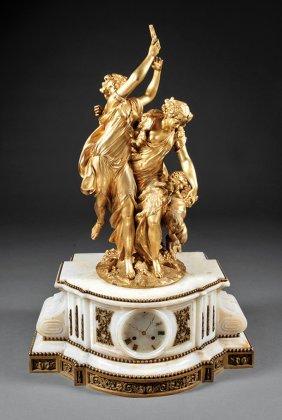 Belle Epoque Gilt Bronze And Alabaster Clock