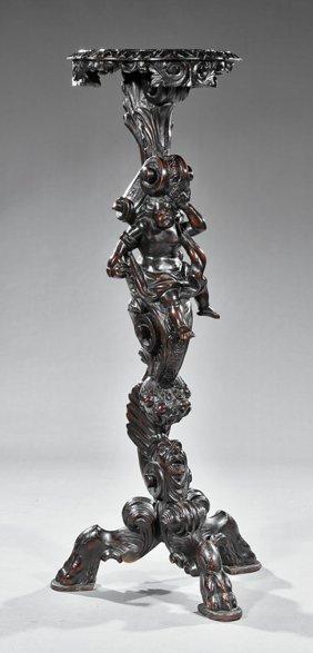 Italian Carved Walnut Figural Pedestal