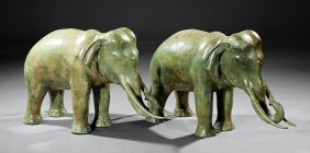 Pair Of Continental Patinated Bronze Elephants