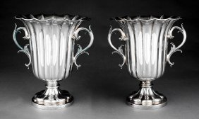 Pair Of Elkington Silverplate Champagne Coolers
