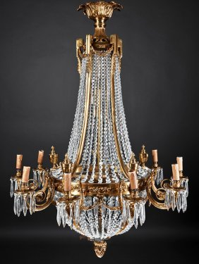 Neoclassical Gilt Bronze And Crystal Chandeliers