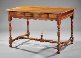 French Provincial Inlaid Fruitwood Table