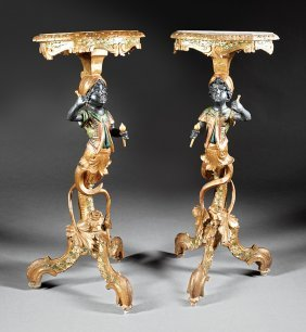 Italian Carved Polychromed Blackamoor Gueidons