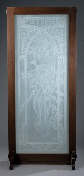 Art Nouveau-style Frosted And Etched Glass Panels