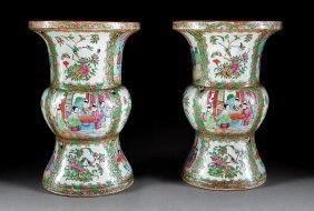 Chinese Export Famille Rose Porcelain Gu Vases