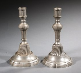 Pair Of French Pewter Candlesticks